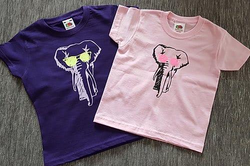 T-Shirt Girls Navy/Rosa