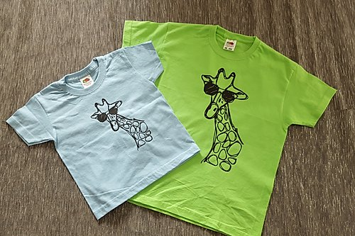 T-Shirt Girls Blue/Lime