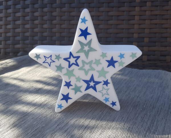 LED Stern Blau Grau
